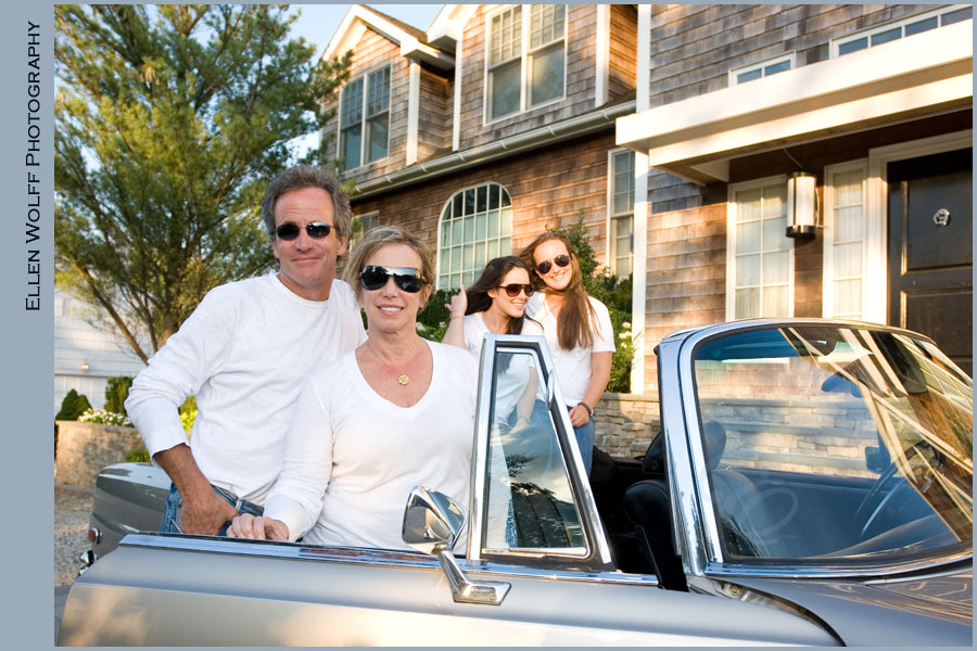 posed bat mitzvah family photos with a vintage mercedes benz on long island