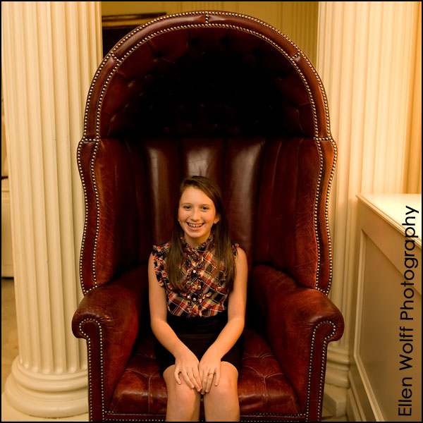 sitting in the telephone chair at the Lotos Club