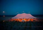party tent on the beach at night